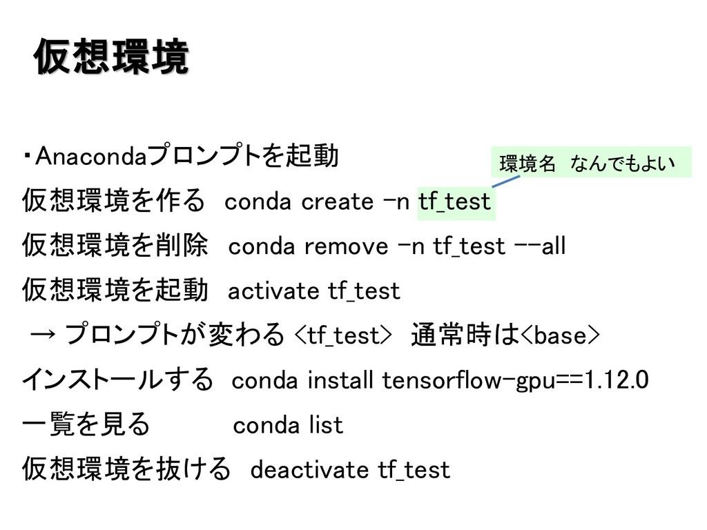 仮想環境 ・Anacondaプロンプトを起動 仮想環境を作る conda create –n ...