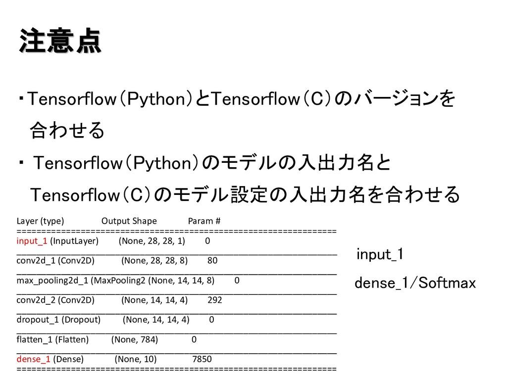 注意点 ・Tensorflow(Python)とTensorflow(C)のバージョンを 合わ...