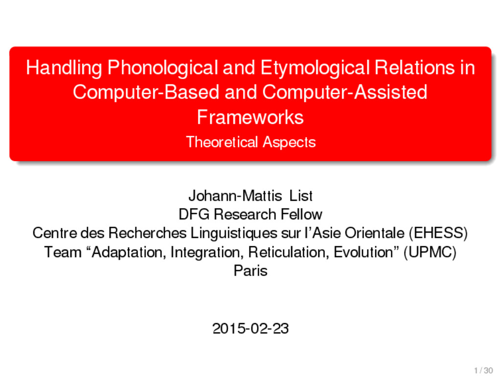 Handling Phonological and Etymological Relation...