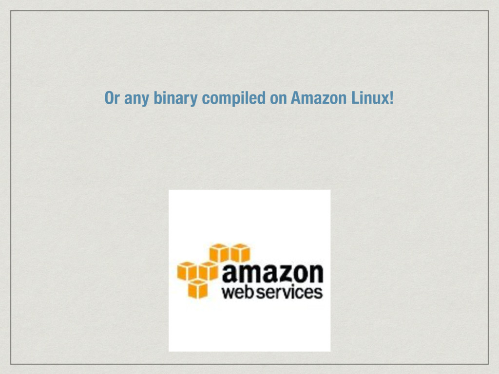 Or any binary compiled on Amazon Linux!