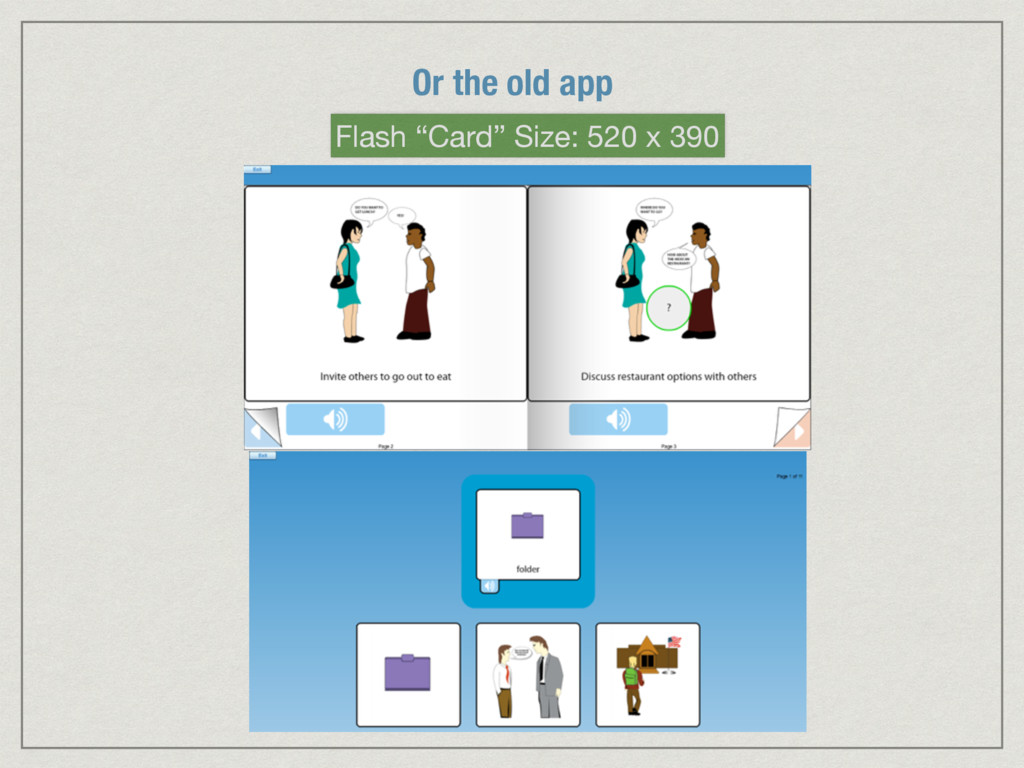 """Or the old app Flash """"Card"""" Size: 520 x 390"""