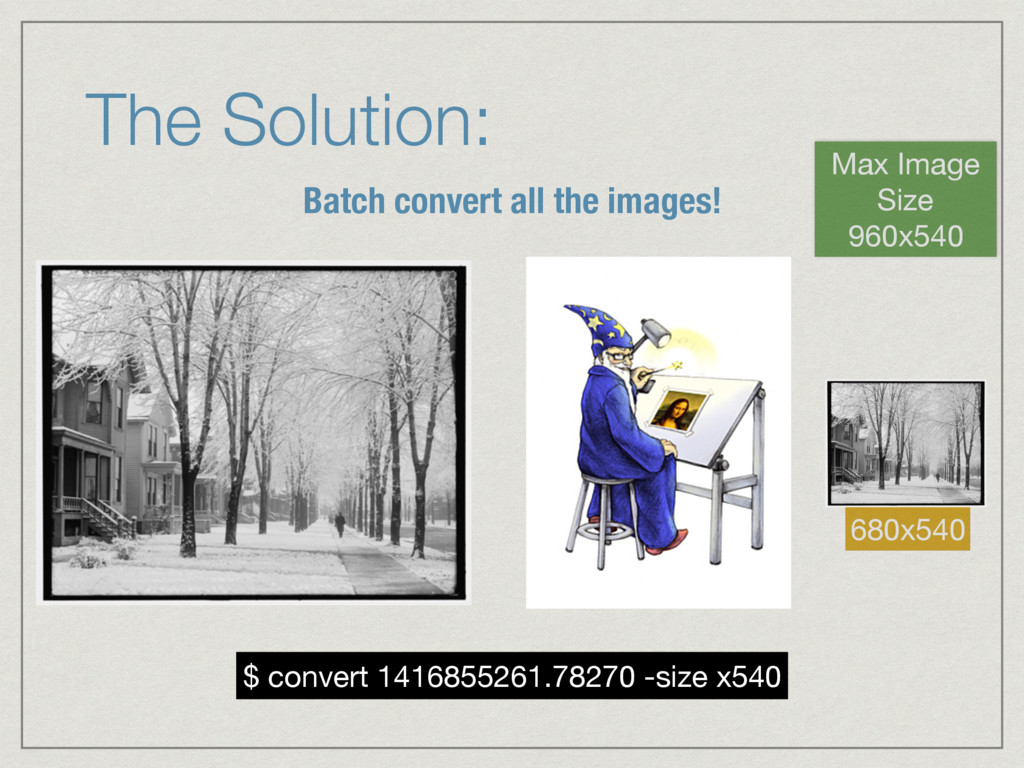 The Solution: Batch convert all the images! Max...