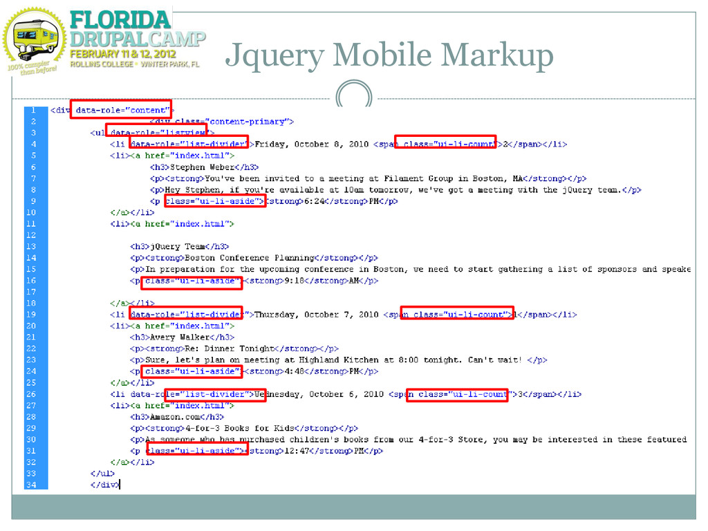 Jquery Mobile Markup
