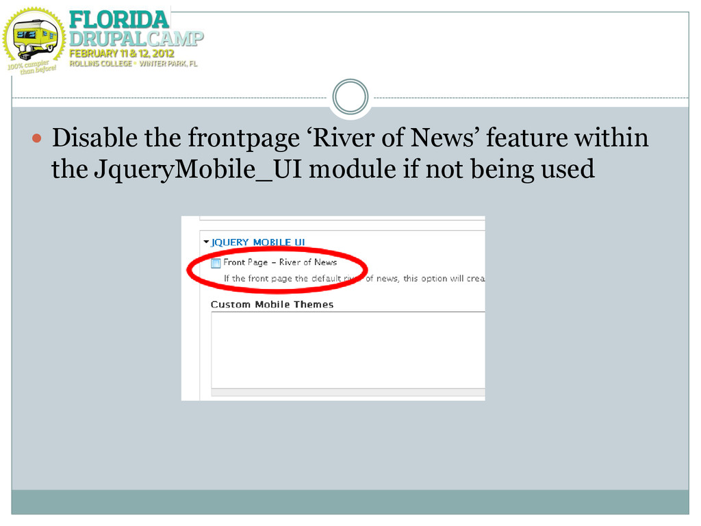 """ Disable the frontpage """"River of News"""" feature..."""