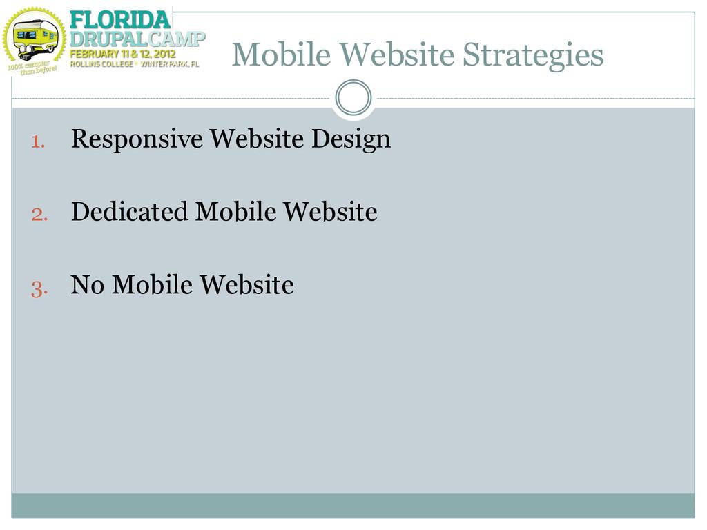 Mobile Website Strategies 1. Responsive Website...