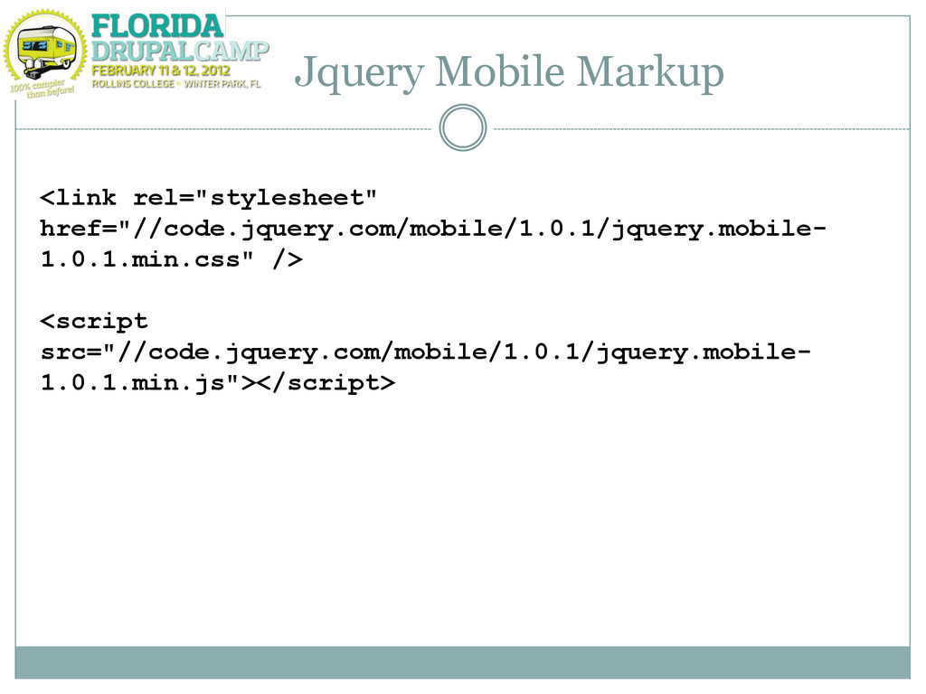"""Jquery Mobile Markup <link rel=""""stylesheet"""" hre..."""