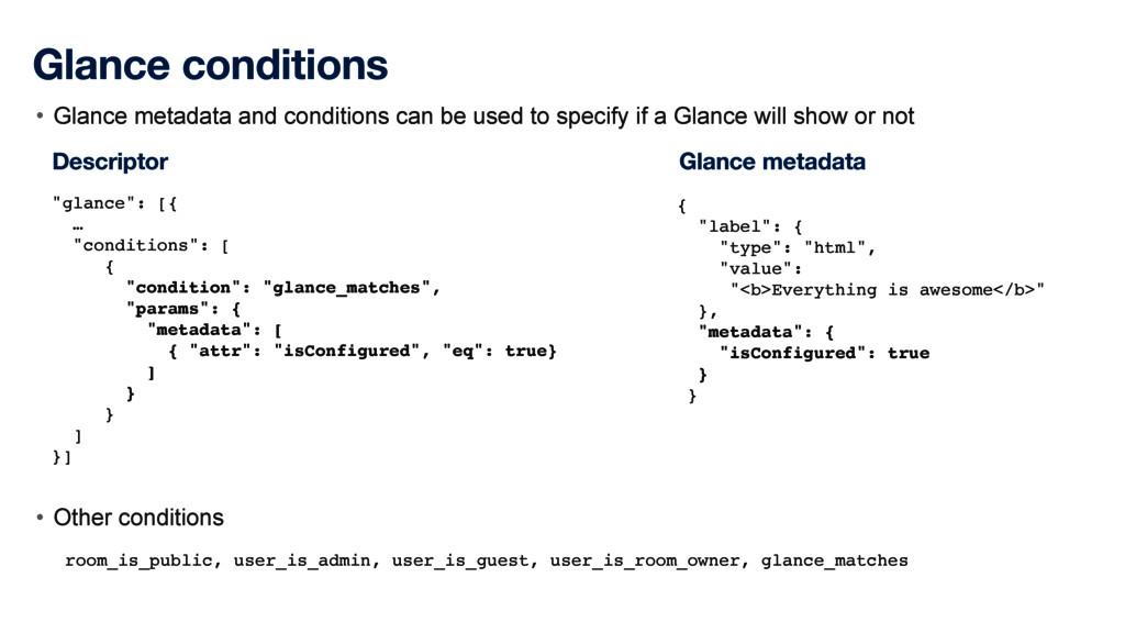Glance conditions • Glance metadata and conditi...