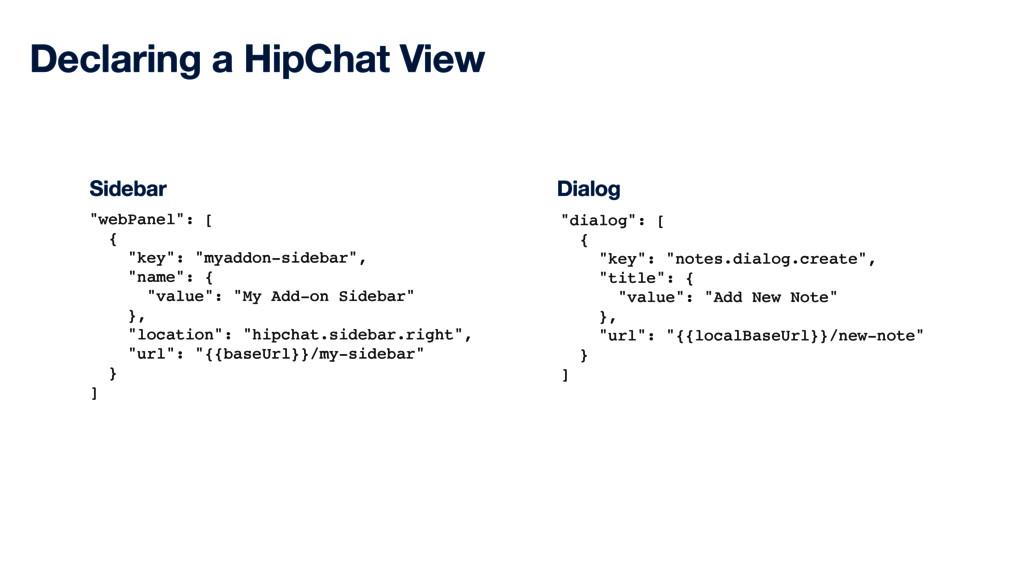 "Declaring a HipChat View ""webPanel"": [ { ""key"":..."