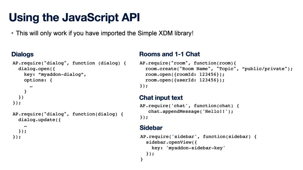 "Using the JavaScript API AP.require(""dialog"", f..."