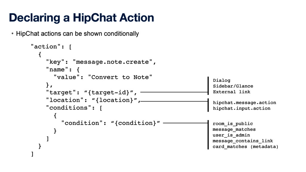 """Declaring a HipChat Action """"action"""": [ { """"key"""":..."""