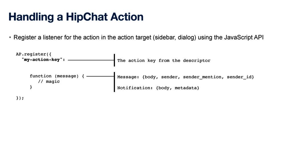 Handling a HipChat Action • Register a listener...