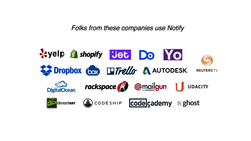 Folks from these companies use Notify