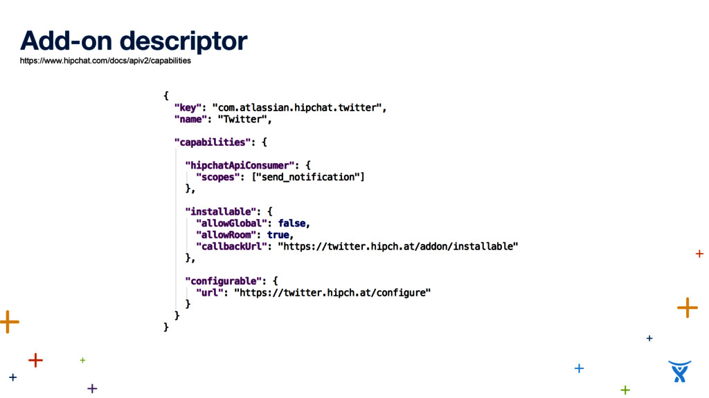 Add-on descriptor https://www.hipchat.com/docs/...