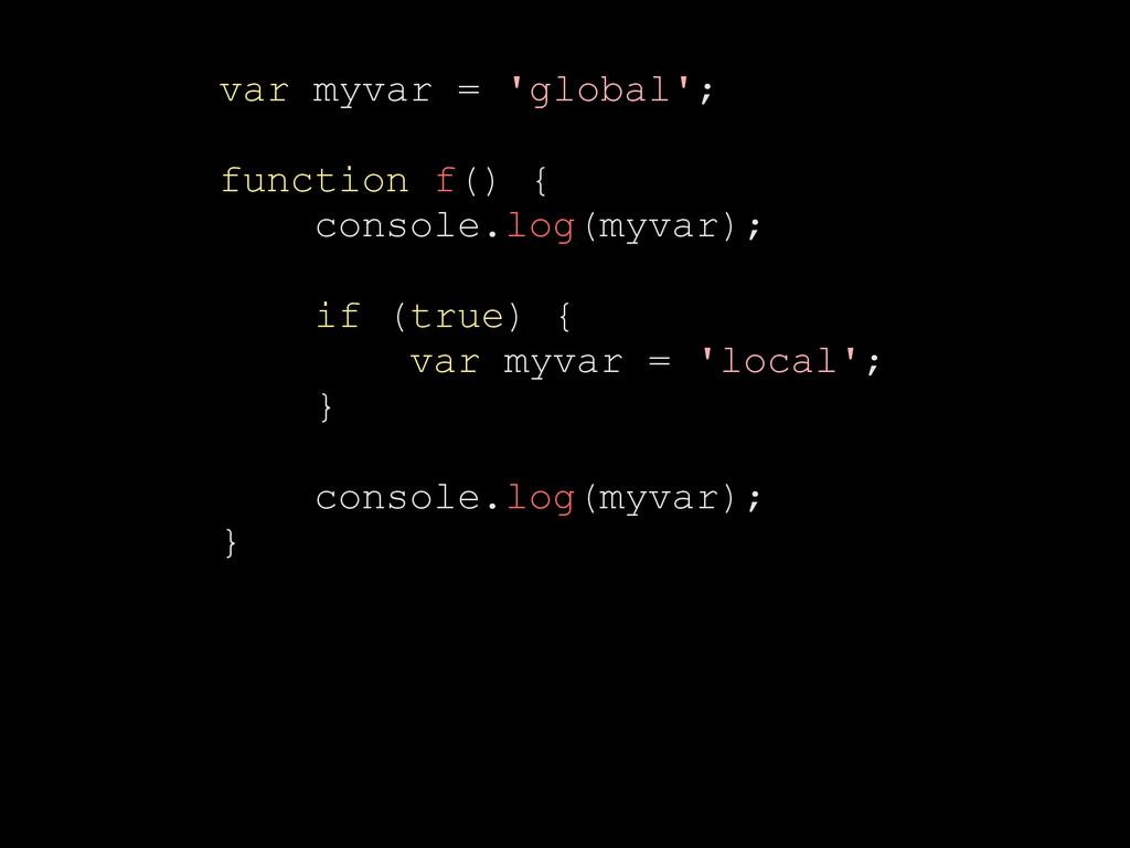 var myvar = 'global'; function f() { console.lo...