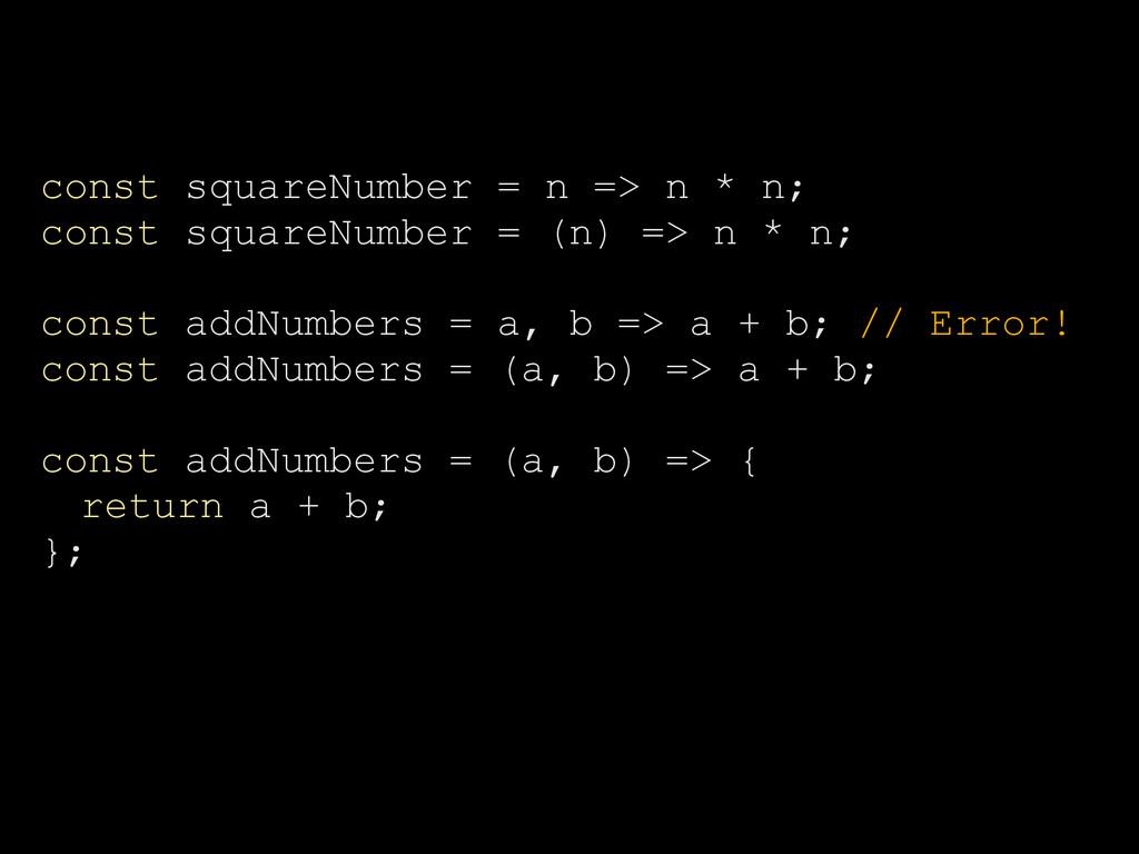 const squareNumber = n => n * n; const squareNu...