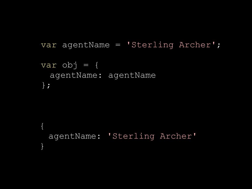 var agentName = 'Sterling Archer'; var obj = { ...
