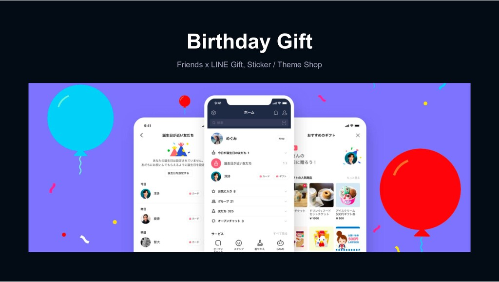 Birthday Gift Friends x LINE Gift, Sticker / Th...