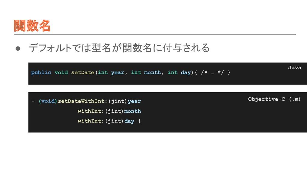 関数名 ● デフォルトでは型名が関数名に付与される public void setDate(i...