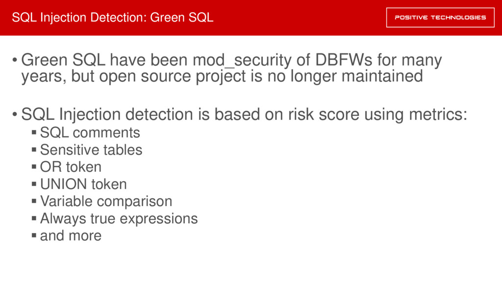 SQL Injection Detection: Green SQL • Green SQL ...
