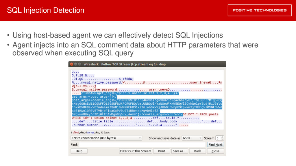SQL Injection Detection • Using host-based agen...