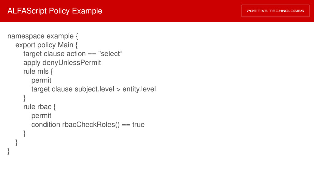 ALFAScript Policy Example namespace example { e...