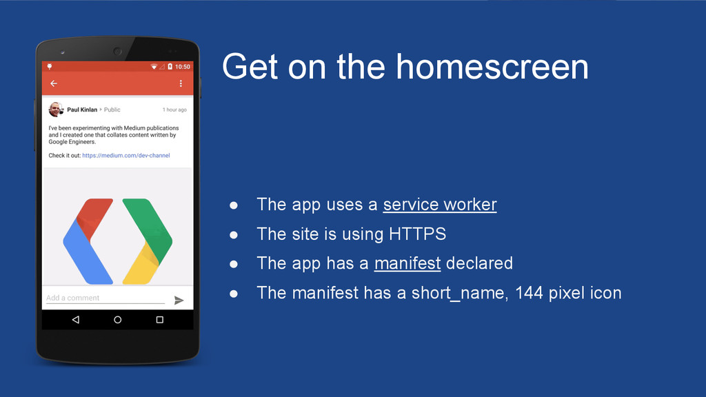 Get on the homescreen ● The app uses a service ...