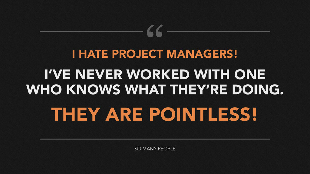 I HATE PROJECT MANAGERS! I'VE NEVER WORKED WITH...