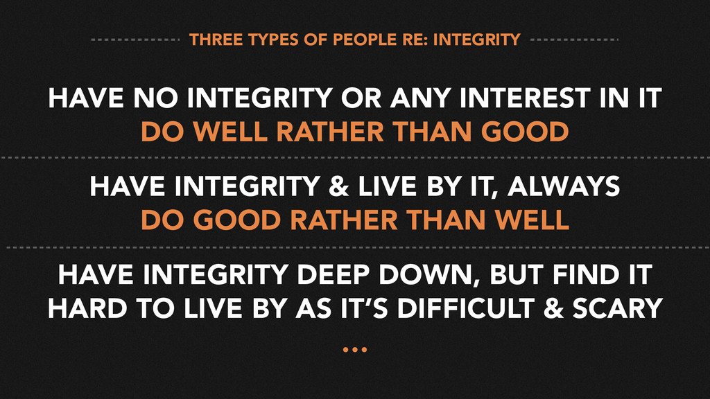 HAVE NO INTEGRITY OR ANY INTEREST IN IT DO WELL...