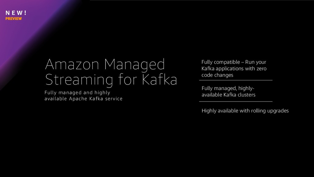 N E W ! Fully managed, highly- available Kafka ...