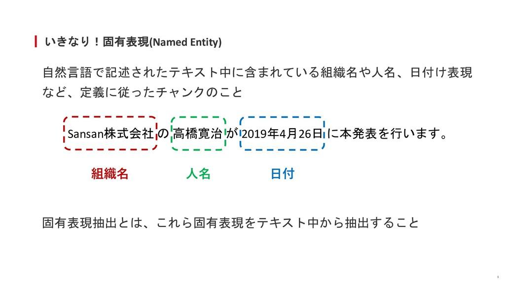 いきなり!固有表現(Named Entity) 自然言語で記述されたテキスト中に含まれている組...