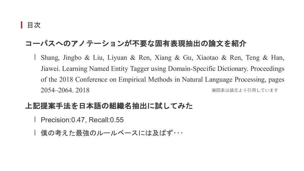 目次 コーパスへのアノテーションが不要な固有表現抽出の論文を紹介 Shang, Jingbo ...