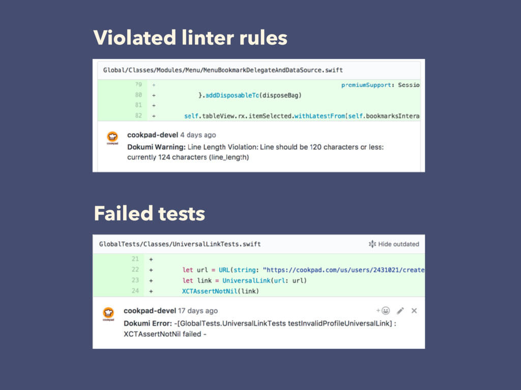 Violated linter rules Failed tests