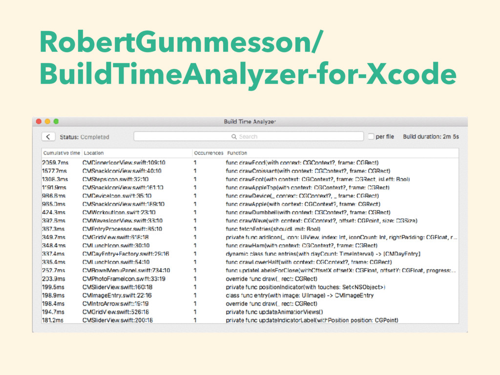 RobertGummesson/ BuildTimeAnalyzer-for-Xcode