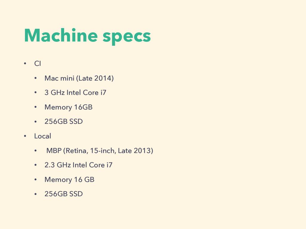 Machine specs • CI • Mac mini (Late 2014) • 3 G...