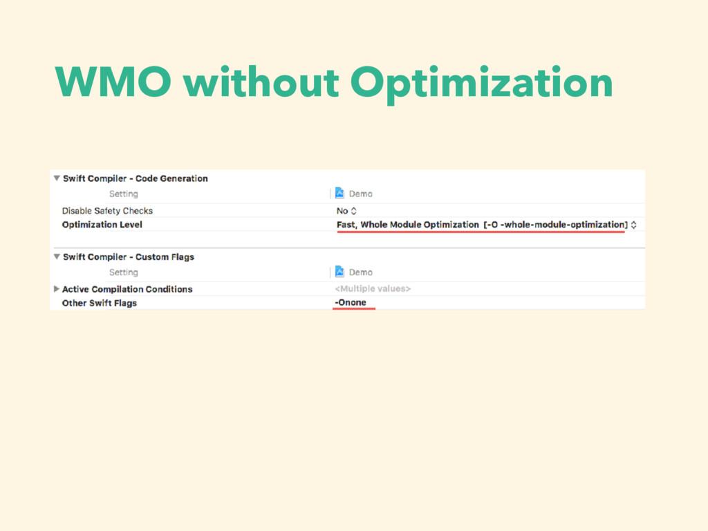 WMO without Optimization