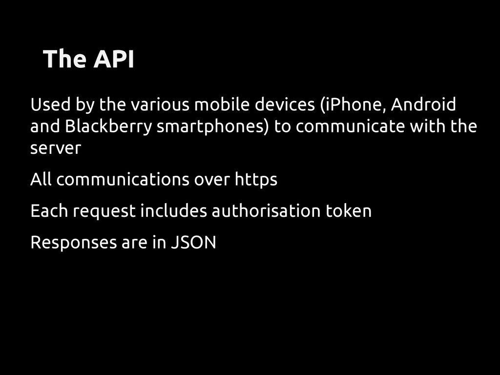 The API Used by the various mobile devices (iPh...