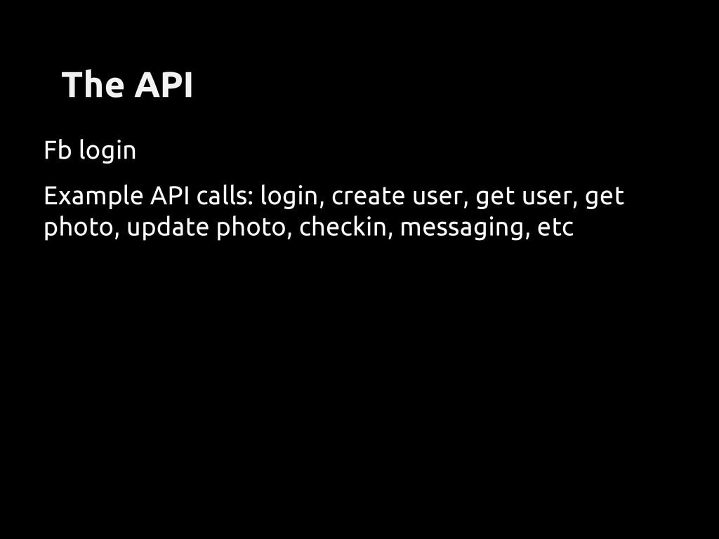 The API Fb login Example API calls: login, crea...