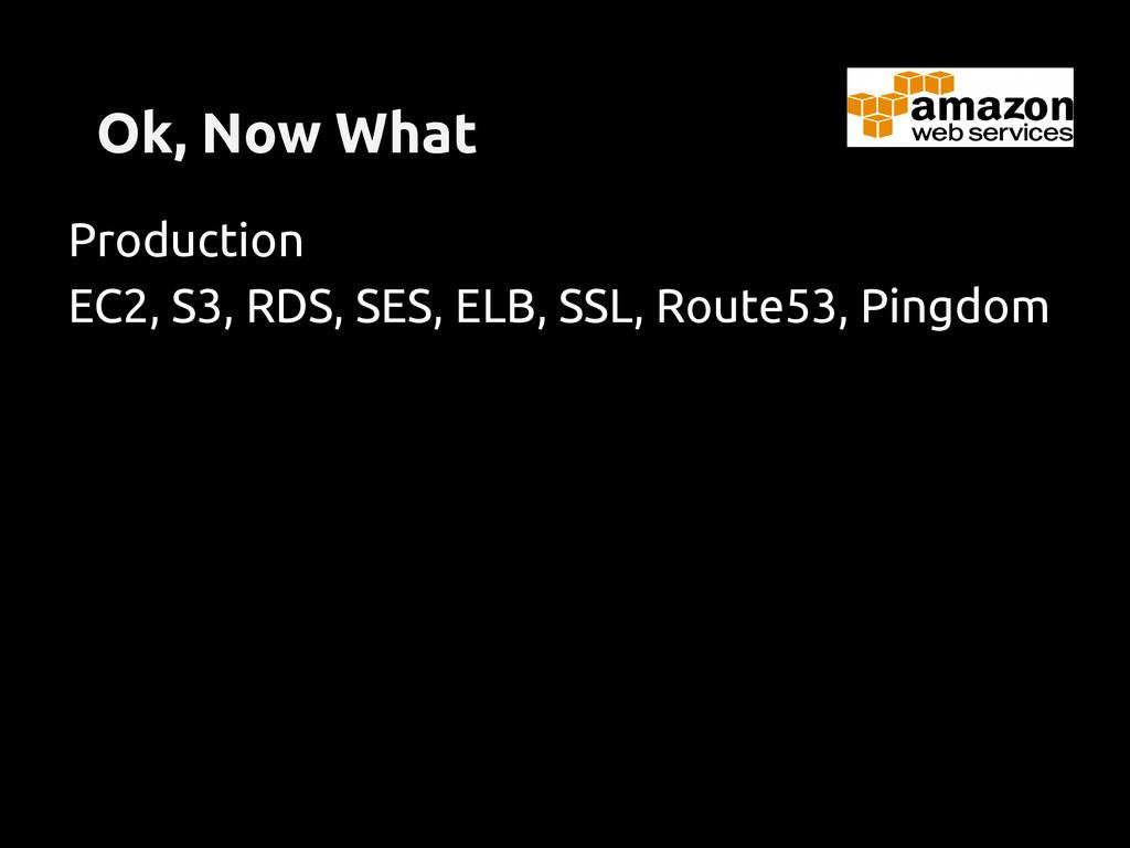 Ok, Now What Production EC2, S3, RDS, SES, ELB,...