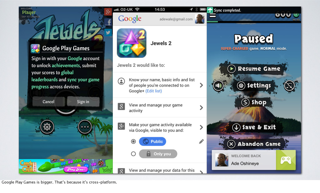 Google Play Games is bigger. That's because it'...