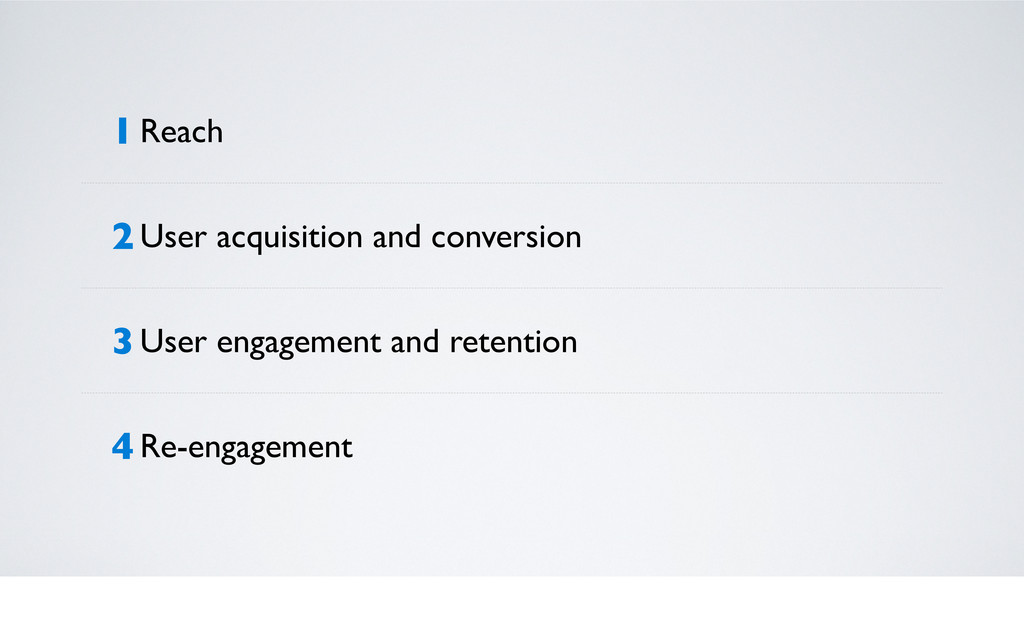 1 Reach 2 User acquisition and conversion 3 Use...