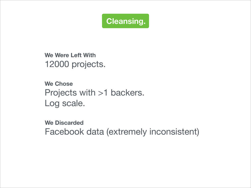 Cleansing. We Were Left With 12000 projects. We...
