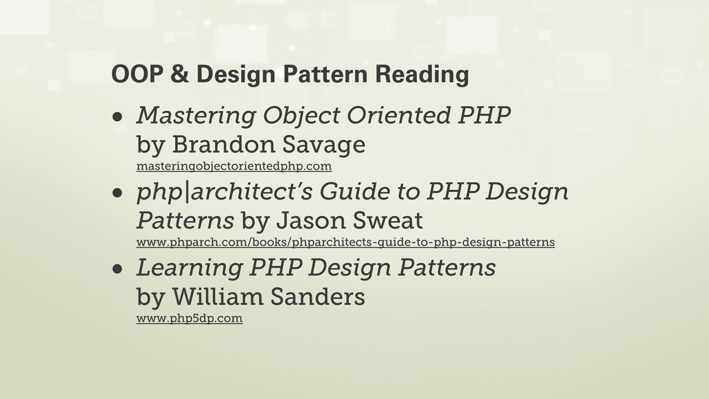 • Mastering Object Oriented PHP