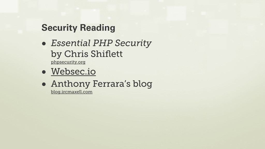 • Essential PHP Security