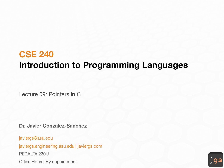 jgs CSE 240 Introduction to Programming Languag...