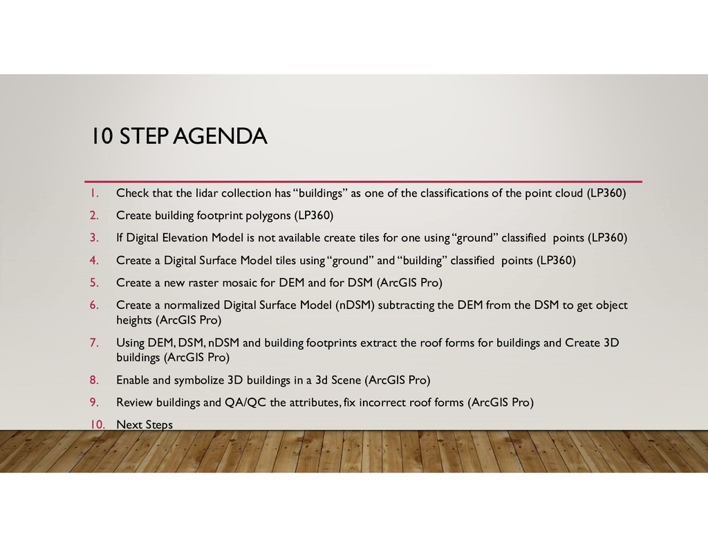 10 STEP AGENDA 1. Check that the lidar collecti...