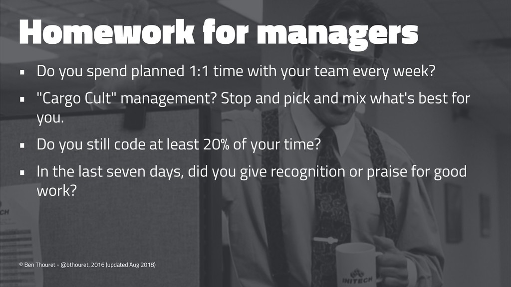 Homework for managers • Do you spend planned 1:...