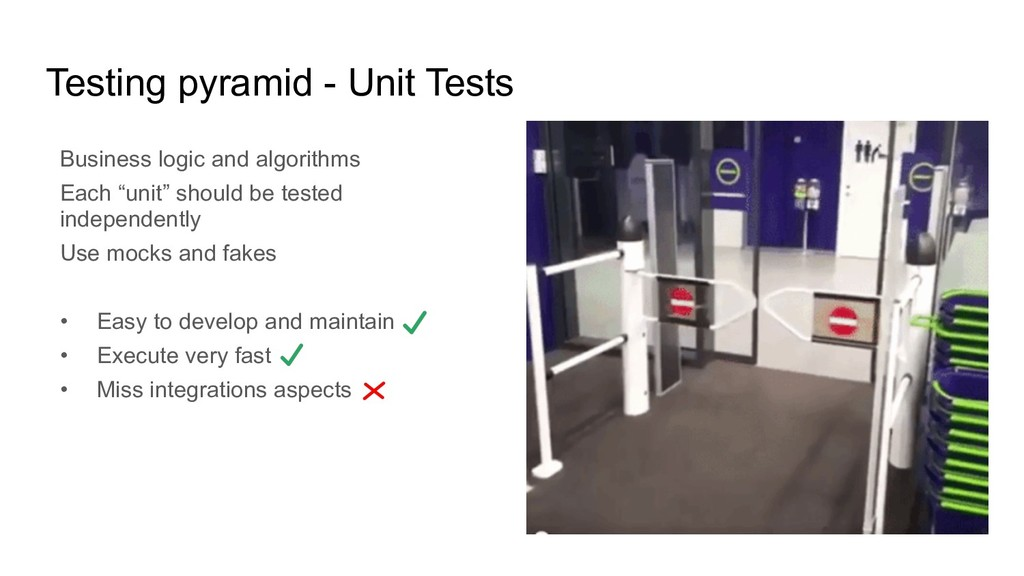 Testing pyramid - Unit Tests Business logic and...