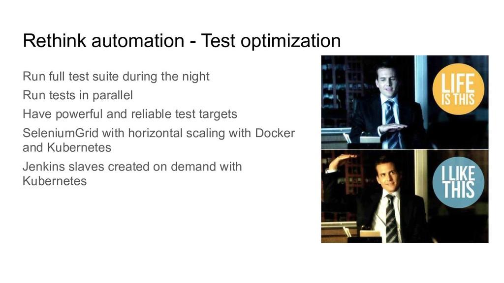 Rethink automation - Test optimization Run full...