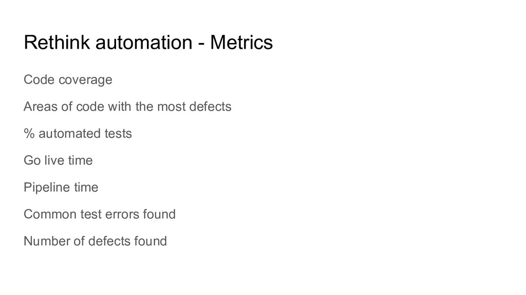 Rethink automation - Metrics Code coverage Area...
