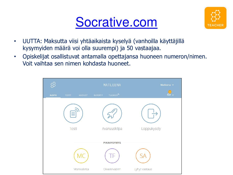 Socrative.com • Opettaja kirjautuu palveluun ja...